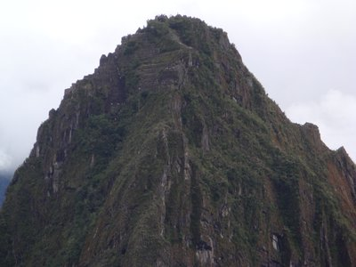this pic is zoomed in on the big peak behind Machu Picchu , look how tiny the people up there are! Huayna Picchu