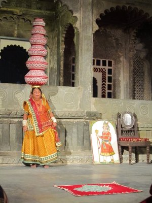 Rajasthan cultural show - yes she danced on glass with 10 containers on her head!