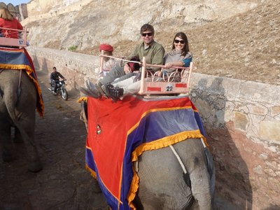 Riding the elephant up to Amber Palace