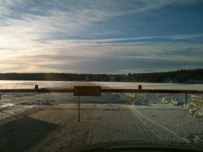 End of the road. Ferry crossing through the ice!
