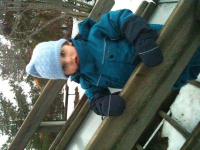 Oscar on slide at Lidingo playground