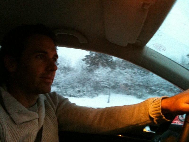 Driving through the snow
