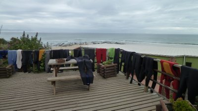 Wetsuits warming up for action.  Jefferys Bay