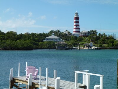 Hope Town's famous lighthouse. Elbow Cay, Bahamas