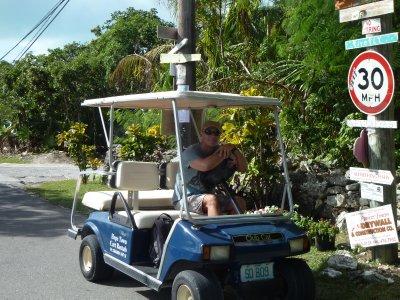 Our rental car.  Elbow Cay, Bahamas