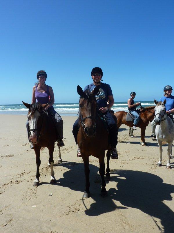 Riding horses on the beach in Cintsa West
