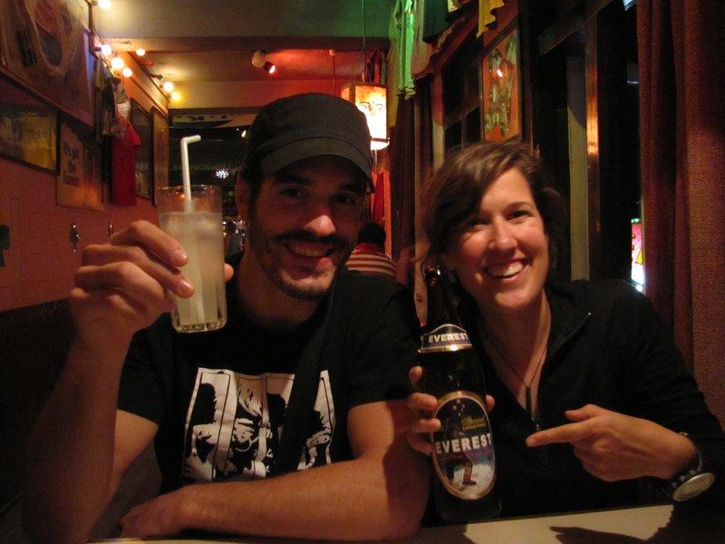 Ma 1ère bière du voyage !! Bien méritée !!