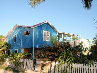 wodden blue house