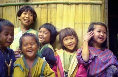 Happy children in the Lahu hilltribe village near Chiang Mai Thailand