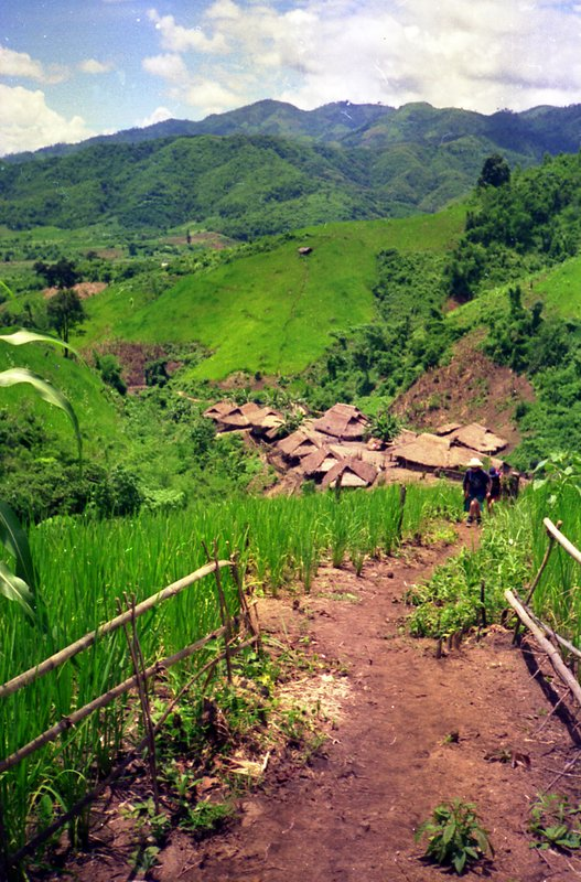 Trekking to the Akha hill tribe village