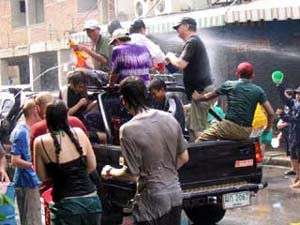 Songkran festival in Chiang mai Thailand waterfights