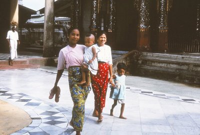 Burmese ladies at Shwe Dagon
