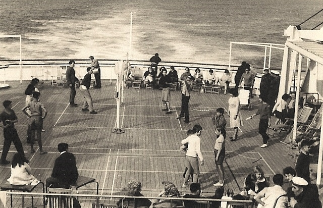 Deck tennis on the Galileo