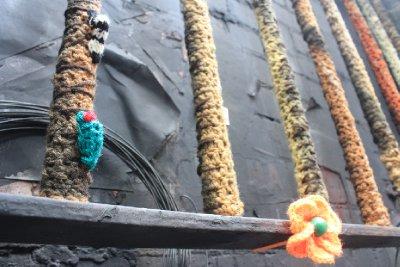 Crochet caterpillers an flowers