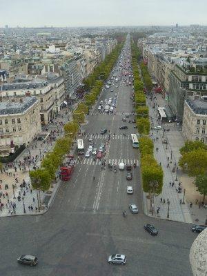 Looking down the Champs-Elysées