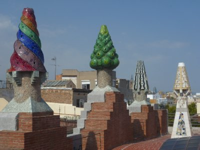 Colourful chimneys on the top of the palace