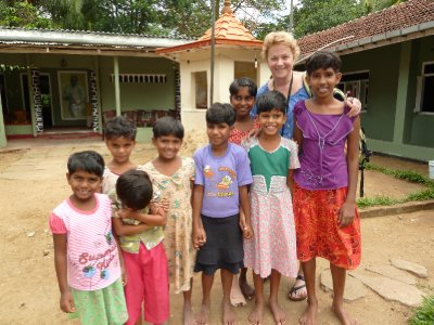 Kaye at the girls' orphanage outside Embilipitiya