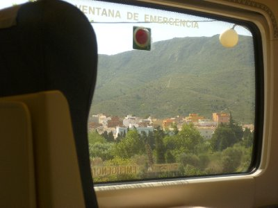 Looking out of the window on the way to Cerbere