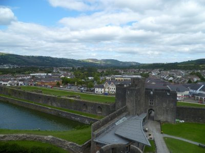Looking over Caerphilly town