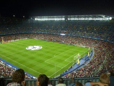 Night falls over the stadium