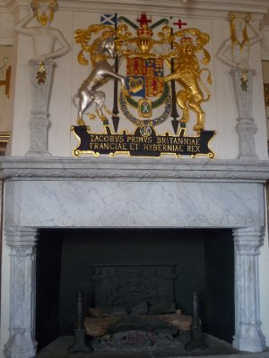 One of the magnificent fireplaces in the house where King James I of England (King James VI of Scotland) was born