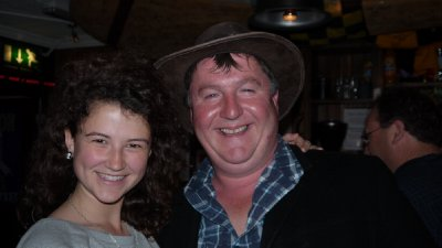 Rosie with the pub singer