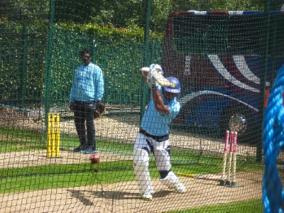 Sangakkara warming up