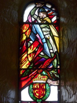 Stained glass representation of William Wallace, Scottish freedom fighter, in St. Margaret's Chapel
