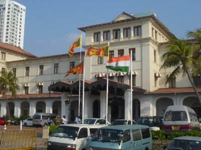The Galle Face Hotel has charitably put an Indian flag up