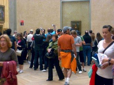 The crowd around the Mona Lisa