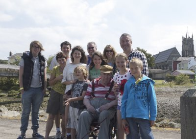 The family with Gramps down at Aberaeron Harbour