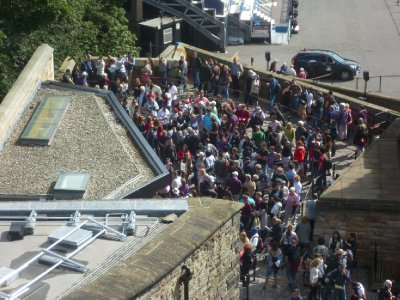 The queue for the Castle (it actually snakes out of the gates further to the right, and keeps going, and going)