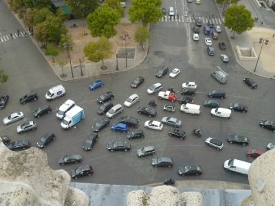 Traffic around the massive roundabout