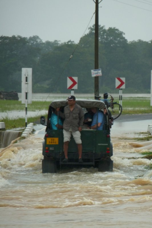 The jeep crosses a flooded road on the east coast