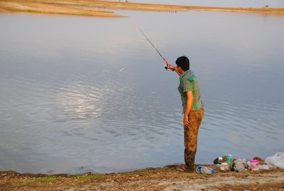 biswajit angling at Gandhi Sagar Lake