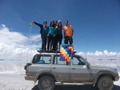 Driving across the largest salt flat in the world