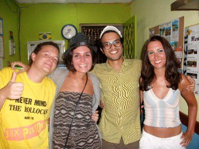 With lovely guys from our hostel in Copacabana