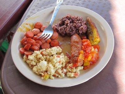 Typical El Salvadorian breakfast