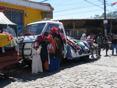 Clothes sold from a car
