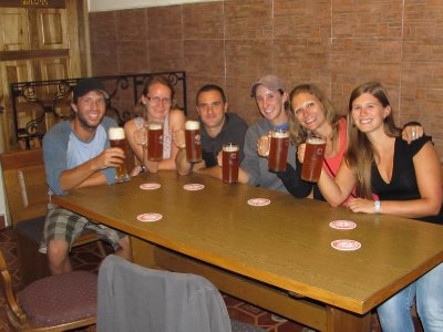 Drinks at the German brewery