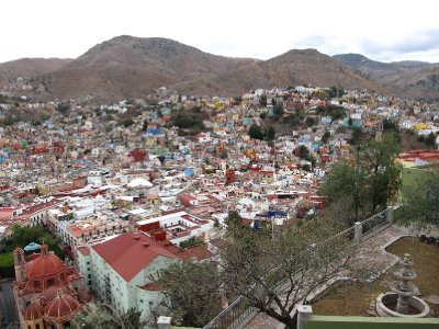 Guanajuato seen from the viewpoint at the statue of Pípila