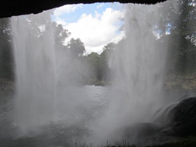 Behind the waterfall at Misol Ha
