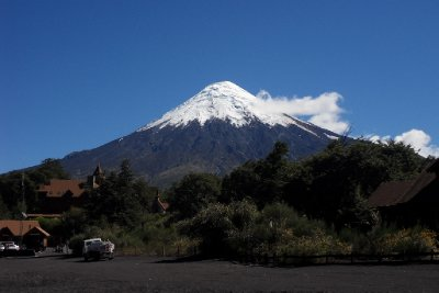 View of volcano Osorno from lake Petrohué