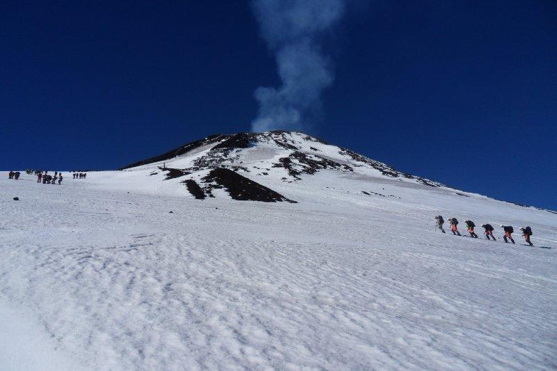 Climbing up volcano Villarica