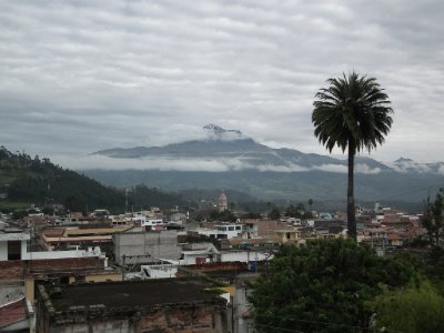 One of the volcanoes over Otavalo, from the hostel roof terrace