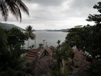 View from above the cabañas across the bay