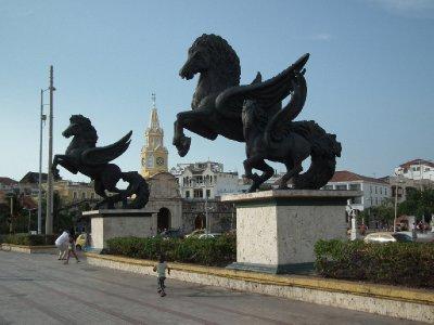 Cartagena horses with city gates behind