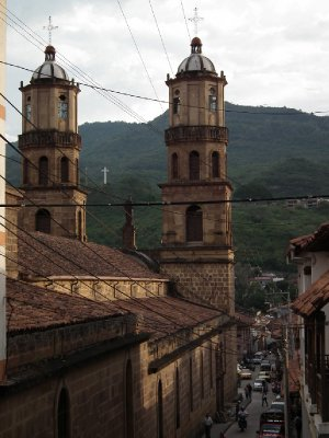 San Gil church and the hills beyond the town