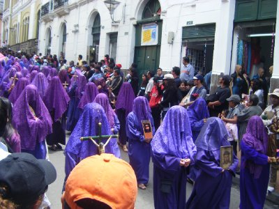 The women dressed in purple