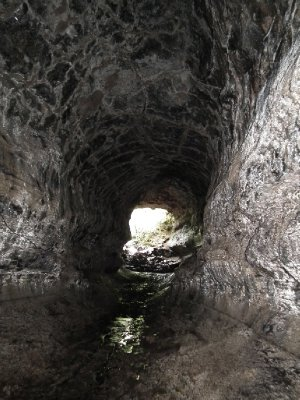 Inside a huge lava tunnel